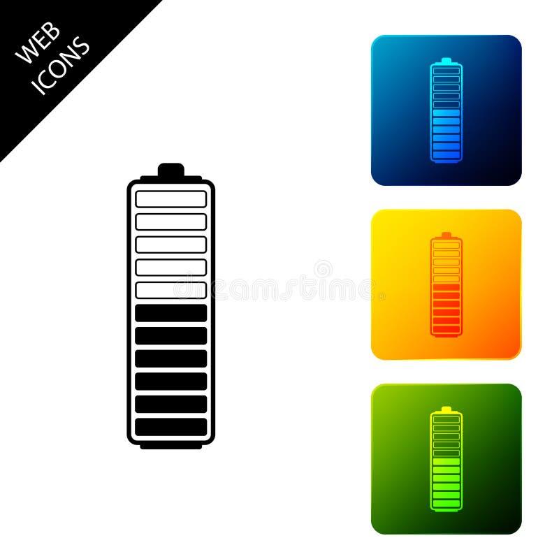 Symbol für die Anzeige der Ladestufe isoliert Batterieaufladung - Netzzeichen Symbol für Elektrizität - Energiezeichen Symbole se stock abbildung