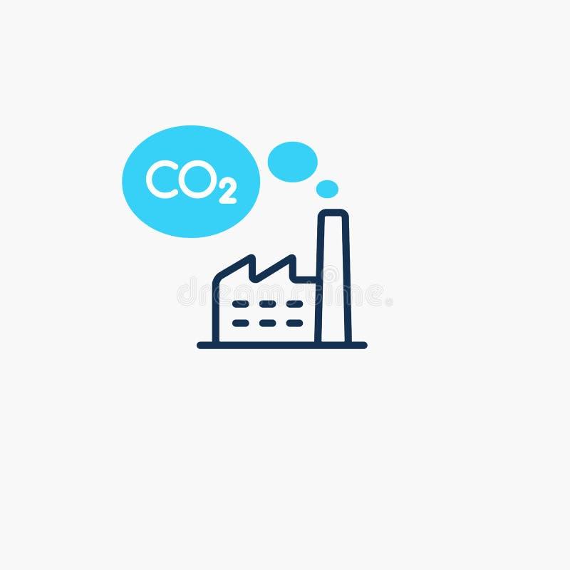 Symbol für die CO2-Emission von Elektrizität lizenzfreie abbildung