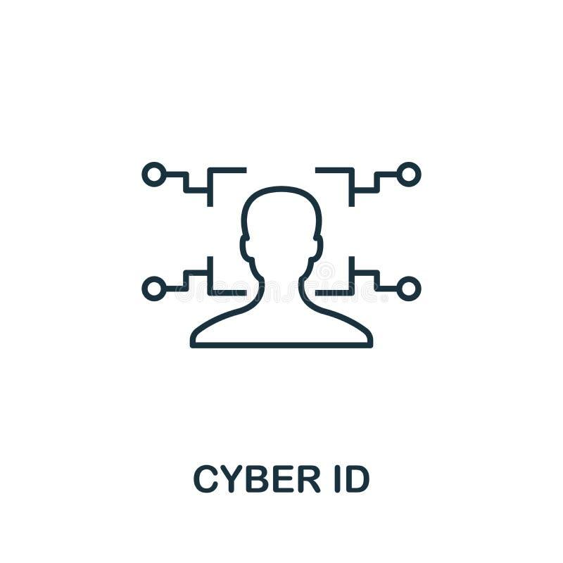 Symbol für die Cyberkennung Thin Line Concept Element aus der Sammlung von Fintech Technology Icons Creative Cyber-ID-Symbol für  vektor abbildung