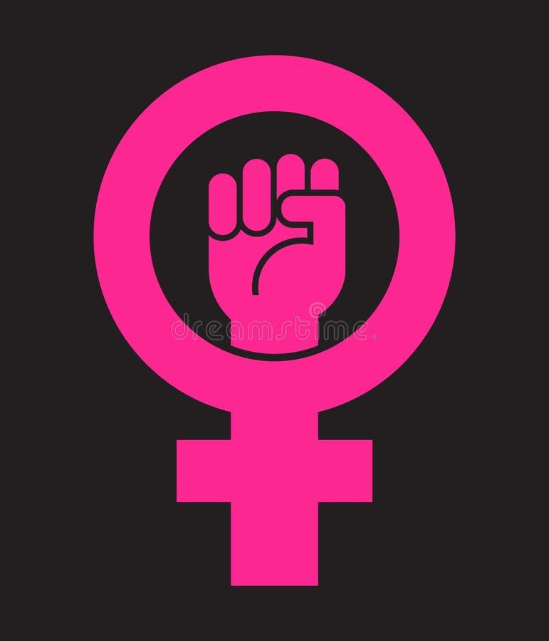 Symbol für die Frau kombiniert mit der angehobenen Faust vektor abbildung