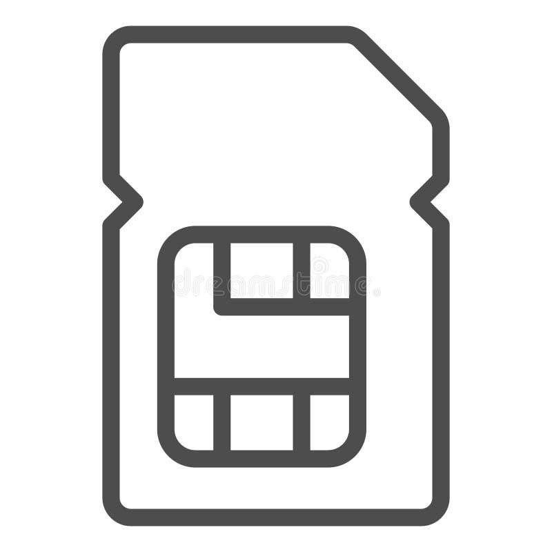 Symbol für eine Kartenzeile Digitale Vektorgrafik für mobile Chips in weißer Farbe Design der Mikrochip-Skizze für Web-Anwendunge lizenzfreie abbildung
