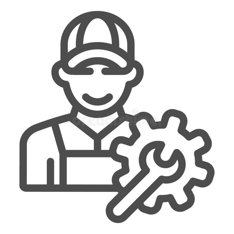 Symbol für elektrische Ingenieure Weiß isolierte Vektorgrafik von Arbeitskräften Handwerker-Design lizenzfreie abbildung