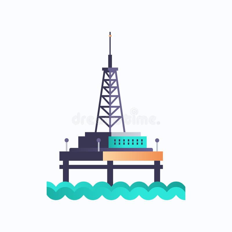 Symbol für industrielle Offshore-Bohranlagen für Meeresplattformen - Kraftwerksumgebung und Energieelement-Ölindustrie stock abbildung