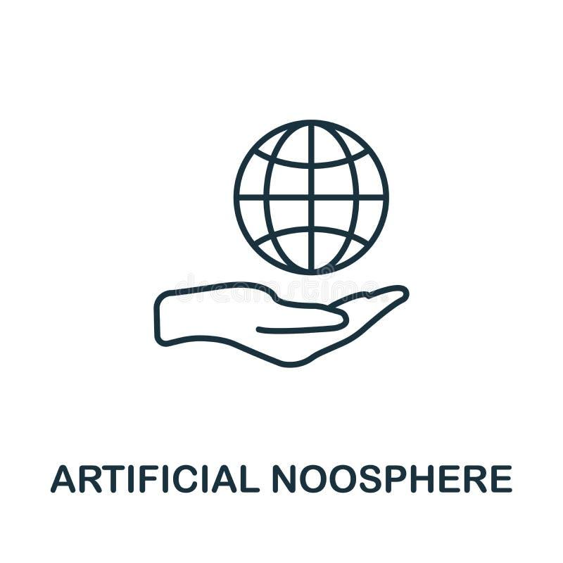 Symbol für künstliche Noosphäre Thin Line Concept Element aus der Sammlung von Fintech Technology Icons kreativ lizenzfreie abbildung