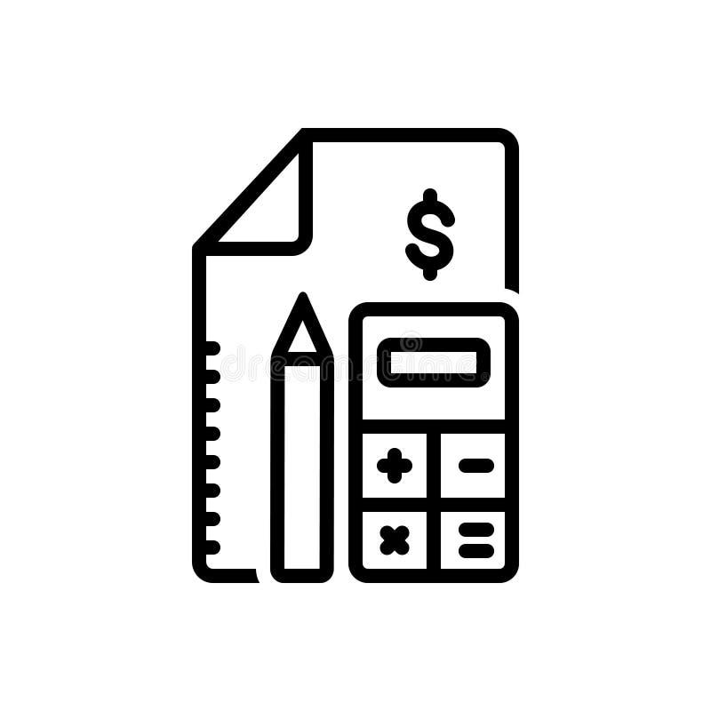 Symbol für schwarze Linie für Konto, Rechnungslegung und Berechnung stock abbildung