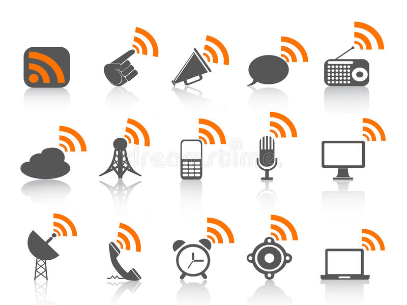 symbol för rss för svart kommunikationssymbol orange vektor illustrationer