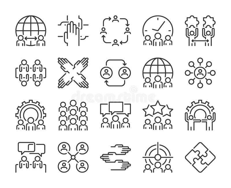 Symbol f?r aff?rsfolk Teamworklinje symbolsuppsättning Redigerbar slagl?ngd Perfekt PIXEL royaltyfri illustrationer