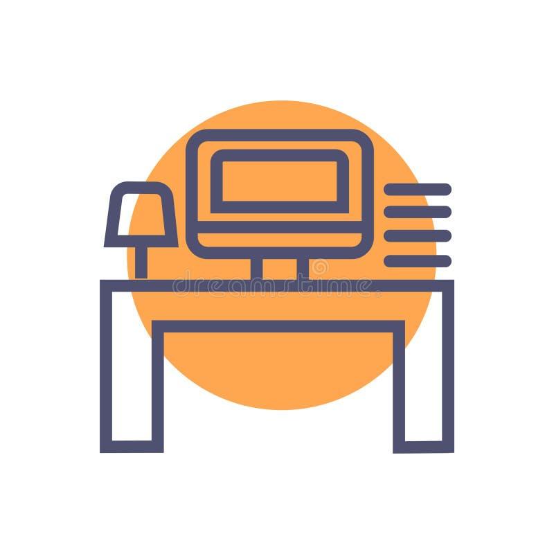 Symbol f?r arbete f?r arbetsst?lle eller kontors Vektorsymbol med datortabelllampan och mini- sj?lv stock illustrationer
