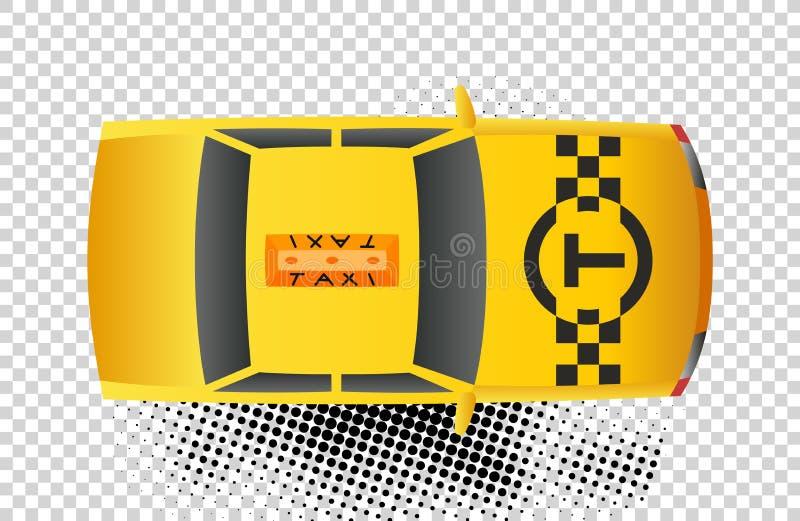 Symbol f?r b?sta sikt f?r taxibil Den gula taxisedan med den bästa ljusa asken för kontrollören på för stilvektor för tak plan il stock illustrationer