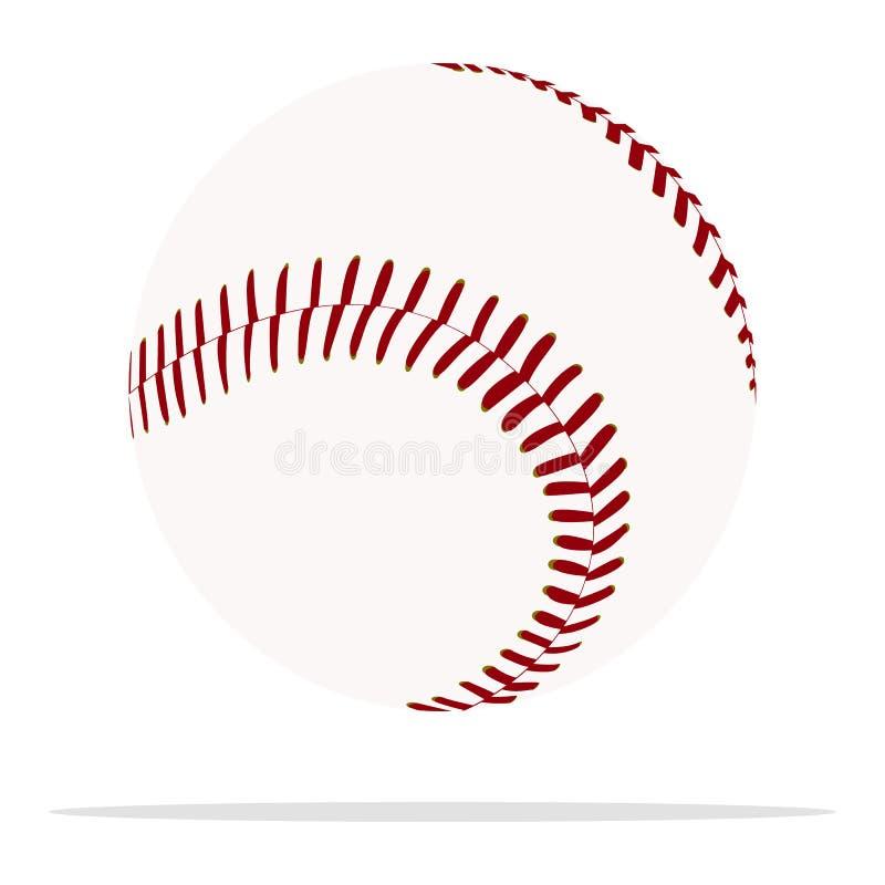 Symbol f?r baseballbollvektor Illustration f?r begrepp f?r sportutrustning Sydd realistisk stildesign för boll som planläggs för  royaltyfri illustrationer