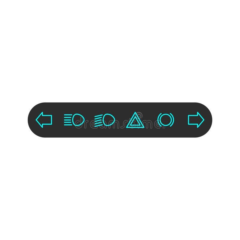 Symbol f?r bilinstrumentbr?dapanel p? en svart bakgrund Pilar som indikerar operationen av blinkerna royaltyfri illustrationer