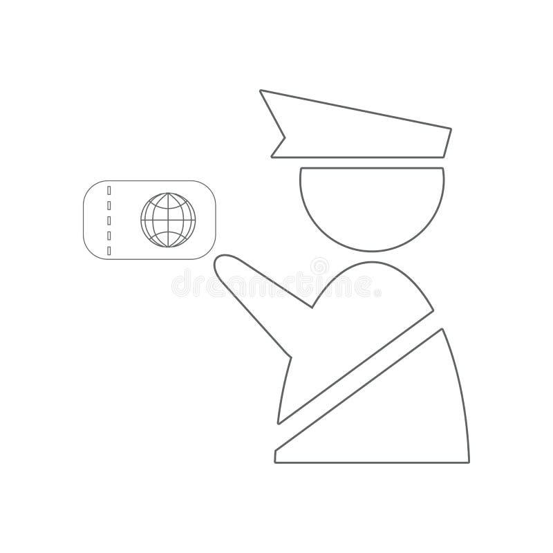 Symbol f?r egen tj?nsteman Best?ndsdel av flygplatsen f?r mobilt begrepp och reng?ringsdukappssymbol ?versikt tunn linje symbol f vektor illustrationer