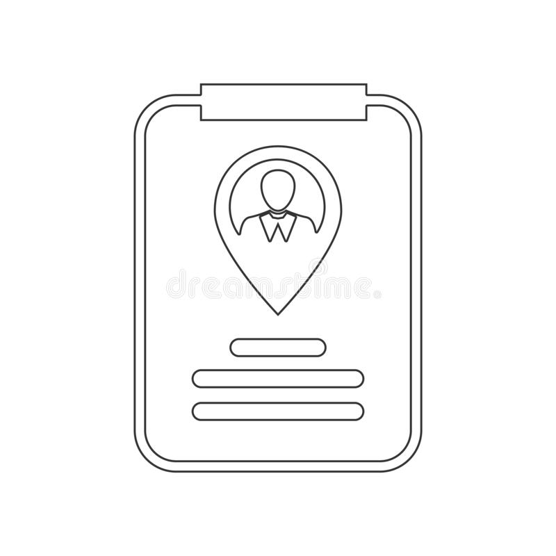 Symbol f?r identitetskort?versiktspekare Best?ndsdel av timme f?r mobilt begrepp och reng?ringsdukappssymbol ?versikt tunn linje  royaltyfri illustrationer