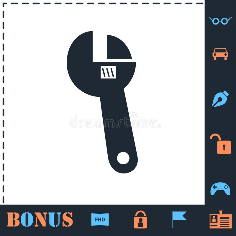 Symbol f?r justerbar skiftnyckel framl?nges royaltyfri illustrationer