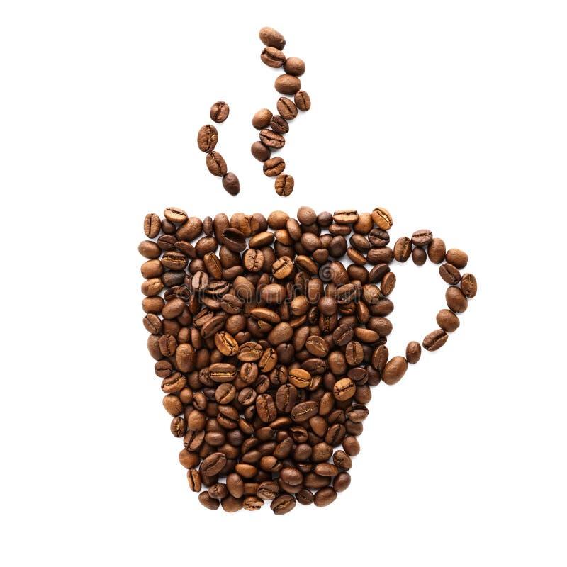 Symbol f?r kaffekopp som g?ras av grillade kaffeb?nor arkivbild