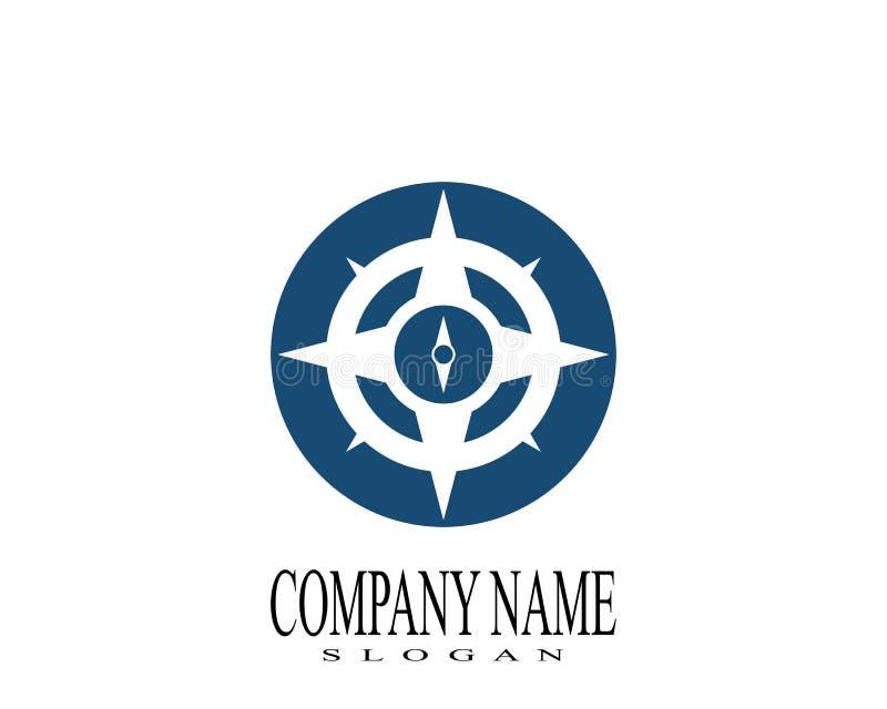 Symbol f?r kompassLogo Template vektor royaltyfri illustrationer