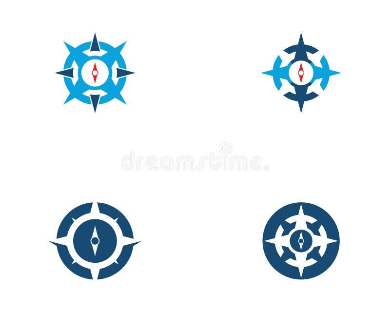 Symbol f?r kompassLogo Template vektor stock illustrationer