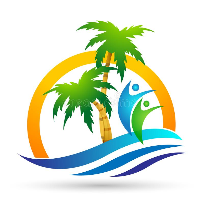 Symbol f?r kust f?r design f?r logo f?r vektor f?r palmtr?d f?r kokosn?t f?r strand f?r sommar f?r ferie f?r turism f?r hotell f? stock illustrationer