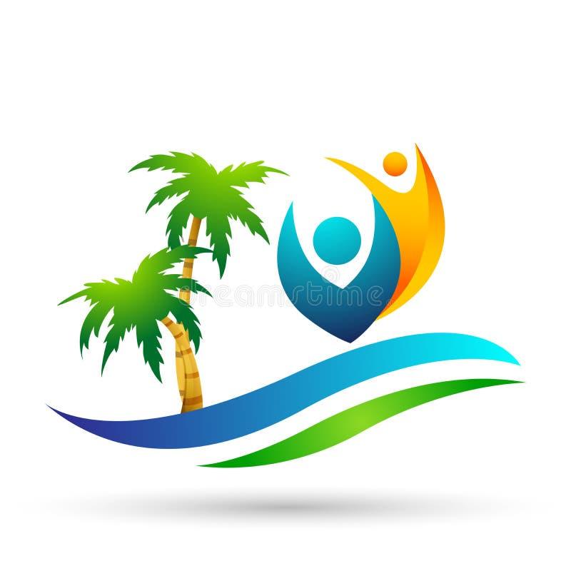 Symbol f?r kust f?r design f?r logo f?r vektor f?r palmtr?d f?r kokosn?t f?r strand f?r sommar f?r ferie f?r turism f?r hotell f? vektor illustrationer