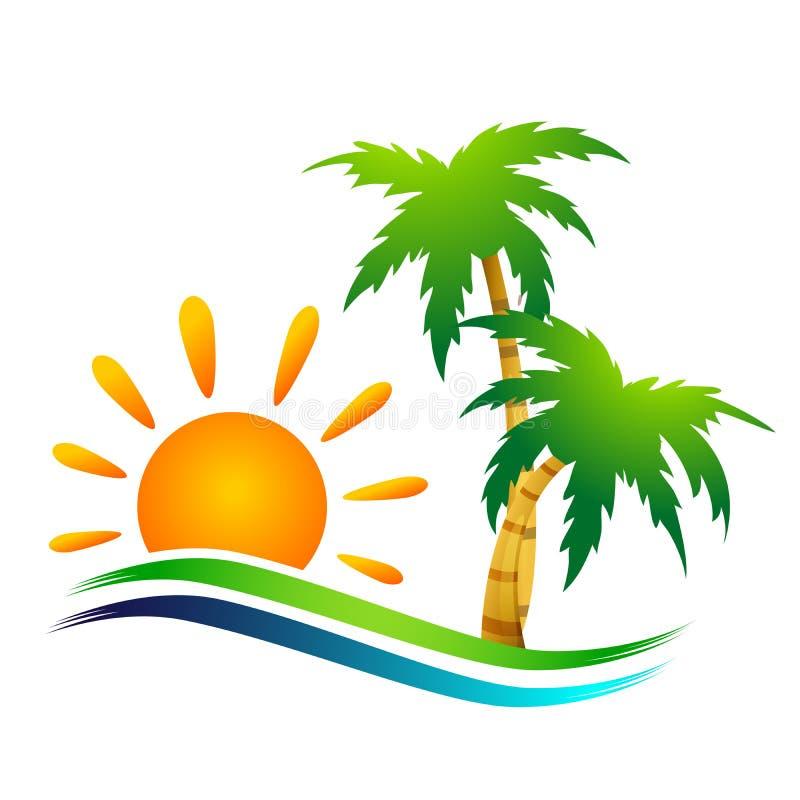 Symbol f?r kust f?r design f?r logo f?r vektor f?r palmtr?d f?r kokosn?t f?r strand f?r sommar f?r ferie f?r turism f?r hotell f? royaltyfri illustrationer