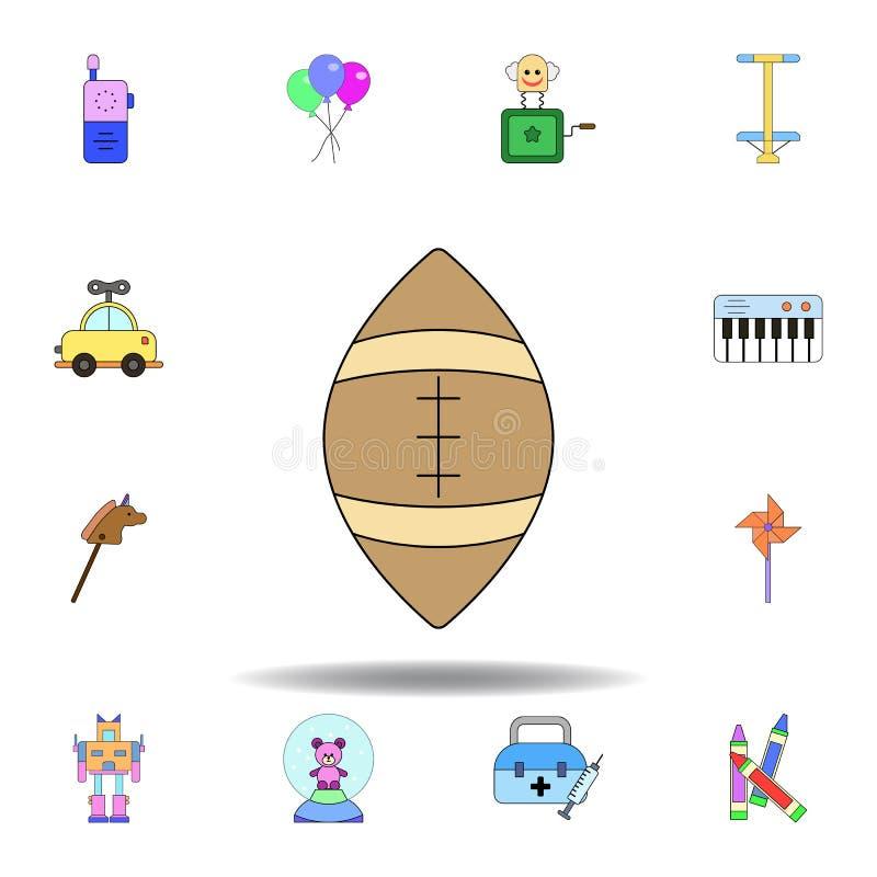 Symbol f?r leksak f?r amerikansk fotboll f?r tecknad film kul?r ställ in av symboler för barnleksakerillustration tecknet symbole stock illustrationer