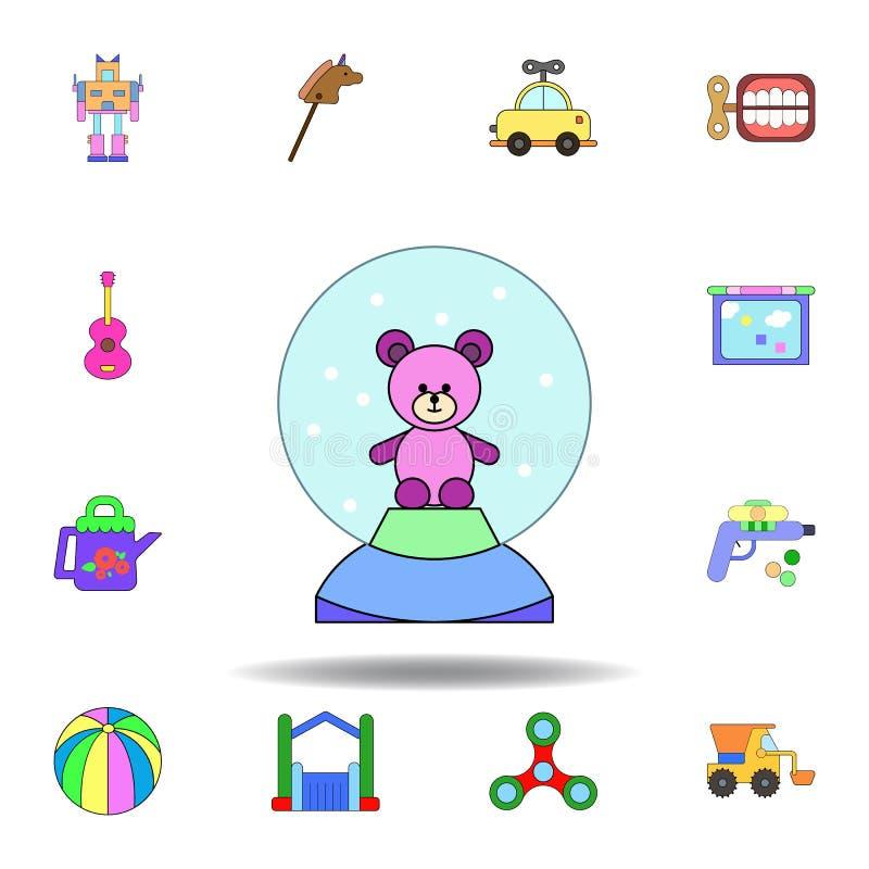 Symbol f?r leksak f?r bj?rn f?r tecknad filmsn?jordklot kul?r ställ in av symboler för barnleksakerillustration tecknet symboler  stock illustrationer
