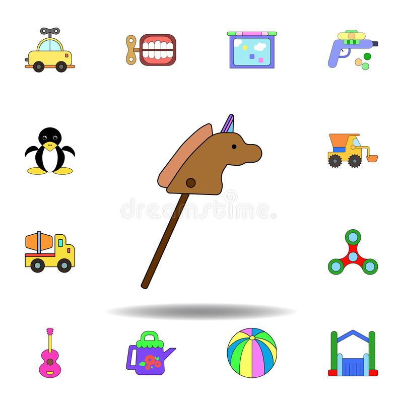 Symbol f?r leksak f?r tecknad filmh?stpinne kul?r ställ in av symboler för barnleksakerillustration tecknet symboler kan användas royaltyfri illustrationer
