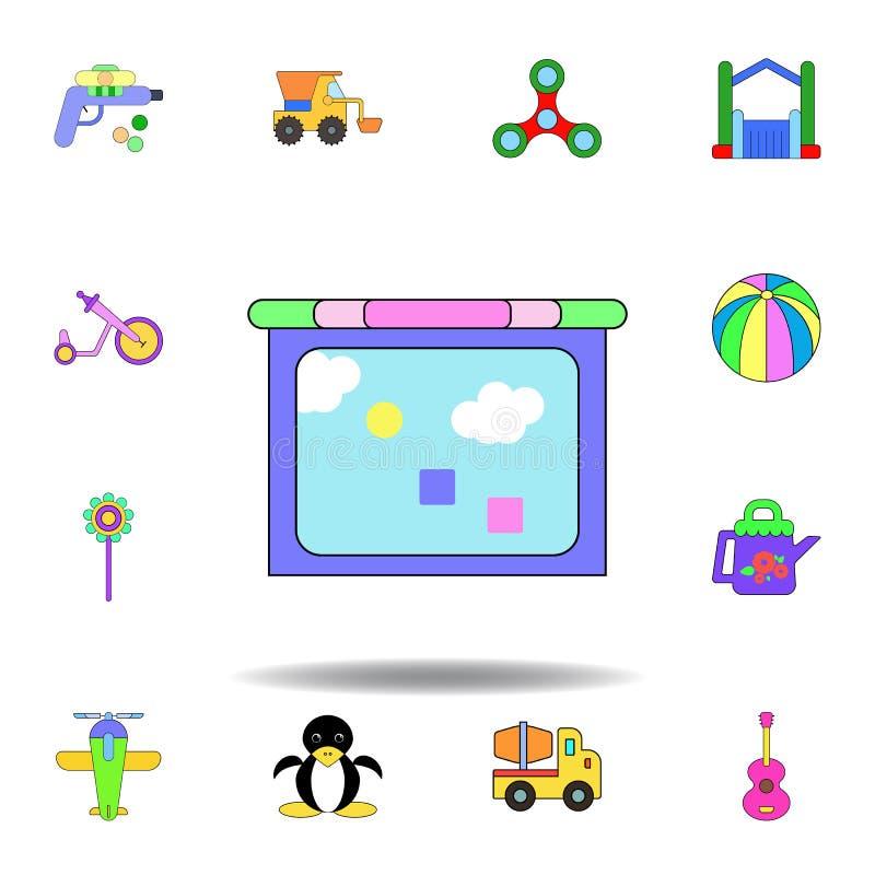 Symbol f?r leksak f?r tecknad filmminnestavlaungar kul?r ställ in av symboler för barnleksakerillustration tecknet symboler kan a royaltyfri illustrationer