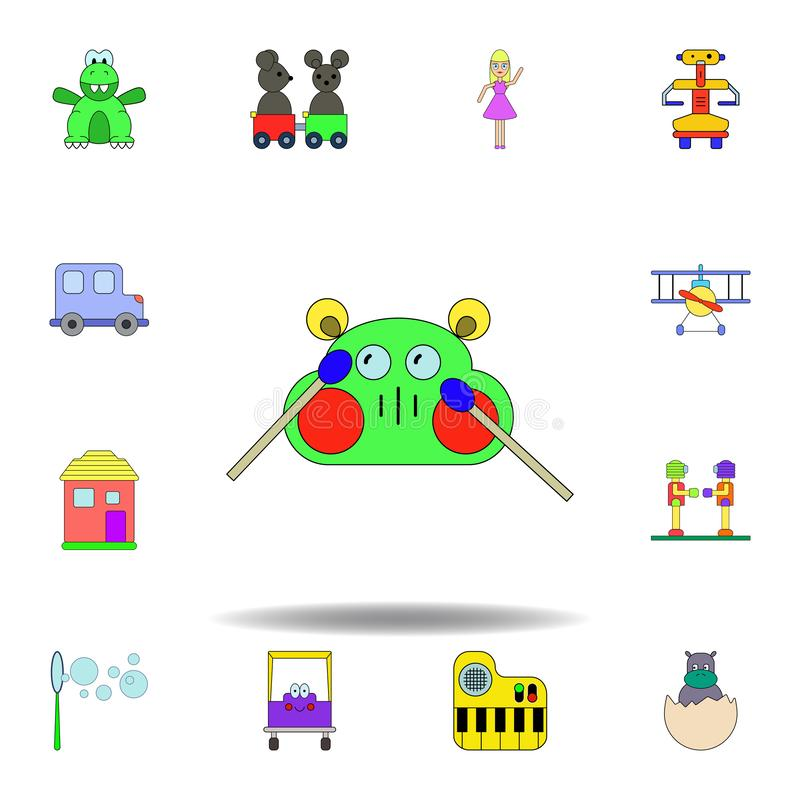 Symbol f?r leksak f?r tecknad filmvalsmaskin kul?r ställ in av symboler för barnleksakerillustration tecknet symboler kan använda vektor illustrationer