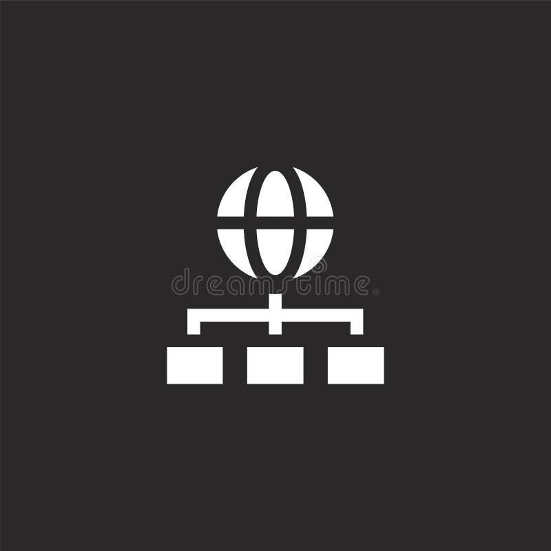 Symbol f?r organisationsdiagram Fylld symbol för organisationsdiagram för websitedesignen och mobilen, apputveckling Symbol f?r o stock illustrationer