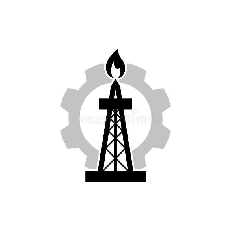 Symbol f?r f?retag f?r oljaborrande, oljeplattformlogo stock illustrationer