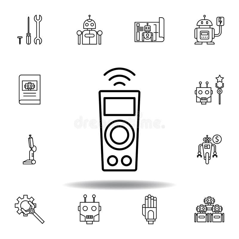 Symbol f?r robotteknikfj?rrkontroll?versikt ställ in av robotteknikillustrationsymboler tecknet symboler kan användas för rengöri royaltyfri illustrationer