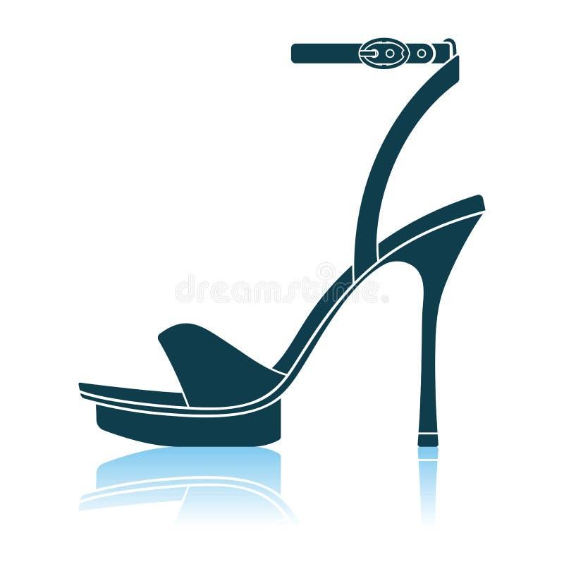 Symbol f?r sandal f?r h?g h?l f?r kvinna stock illustrationer