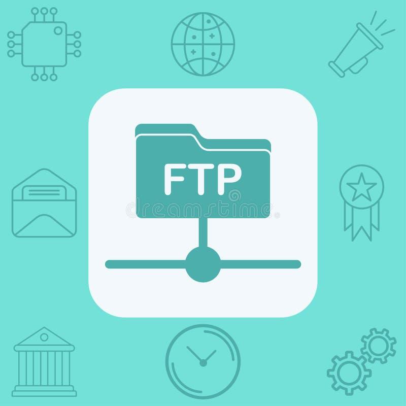 Symbol f?r tecken f?r Ftp-vektorsymbol stock illustrationer