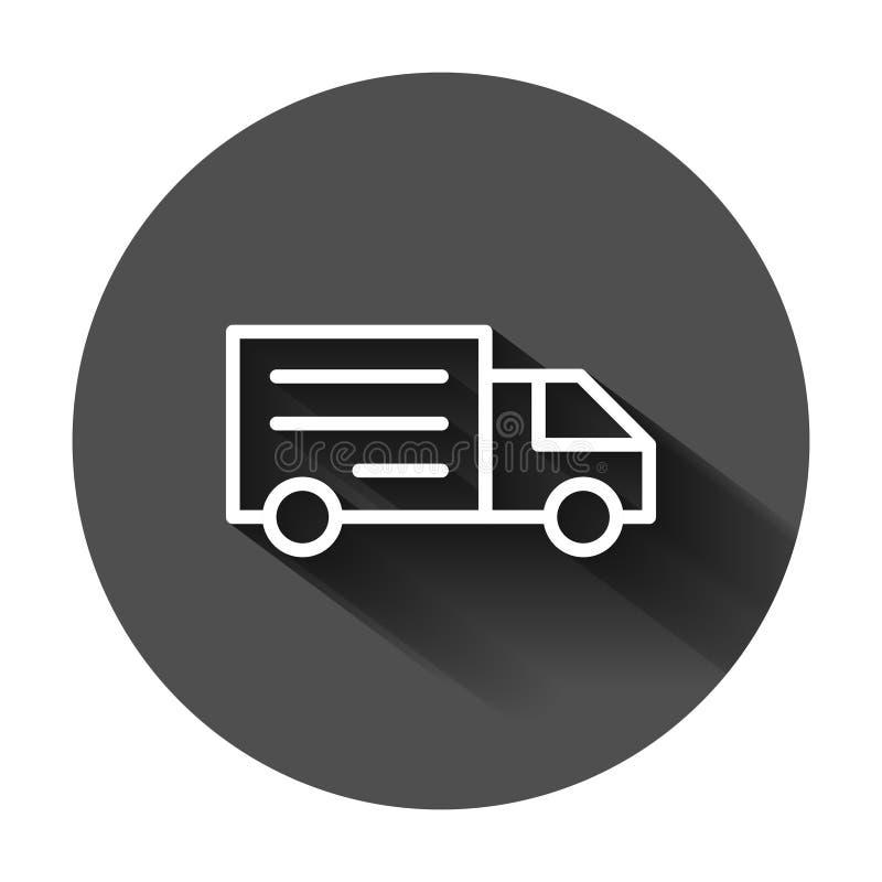 Symbol f?r tecken f?r leveranslastbil i plan stil Sk?pbil vektor illustration p? svart rund bakgrund med l?ng skugga Lastbilaff?r royaltyfri illustrationer