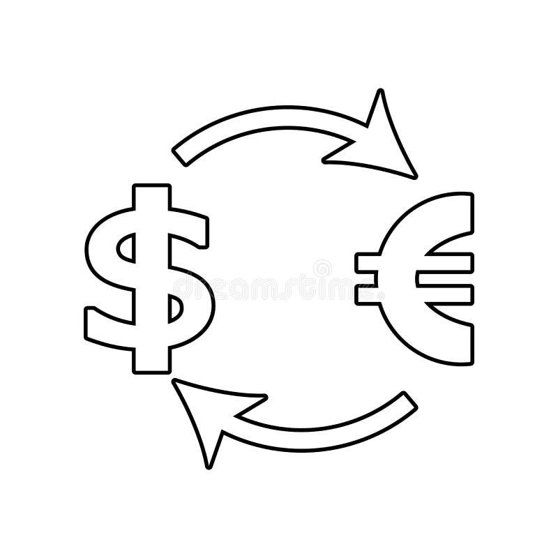 symbol f?r utbytesdollareuro E ?versikt tunn linje symbol f?r vektor illustrationer