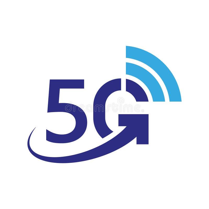 symbol f?r vektor 5G trådlöst internetnätverk för 5th utveckling, informationsteknikillustration om anslutning mobila apparater stock illustrationer