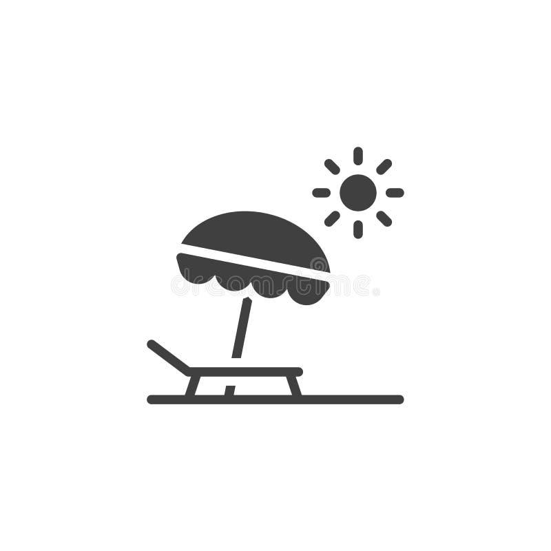 Symbol f?r vektor f?r strandparaply och sol royaltyfri illustrationer