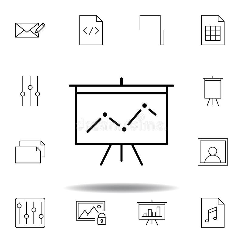 Symbol f?r ?versikt f?r d?ckpresentationsstatistik Detaljerad uppsättning av symboler för unigridmultimediaillustrationer Kan anv vektor illustrationer