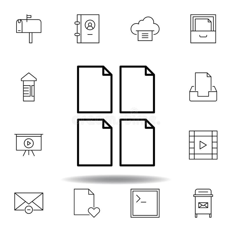 Symbol f?r ?versikt f?r dokumentpappersark Detaljerad uppsättning av symboler för unigridmultimediaillustrationer Kan användas fö royaltyfri illustrationer