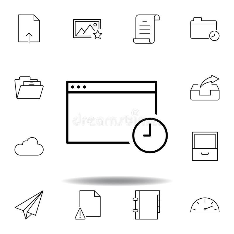 Symbol f?r ?versikt f?r f?nster f?r Appdatumtid Detaljerad uppsättning av symboler för unigridmultimediaillustrationer Kan använd stock illustrationer