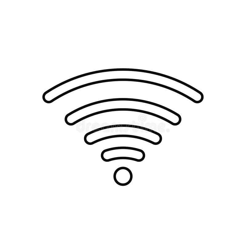 Symbol f?r Wifi internettecken i plan stil isolerade vektorillustrationen f?r tr?dl?s teknologi Wi-fi p? vit bakgrund stock illustrationer