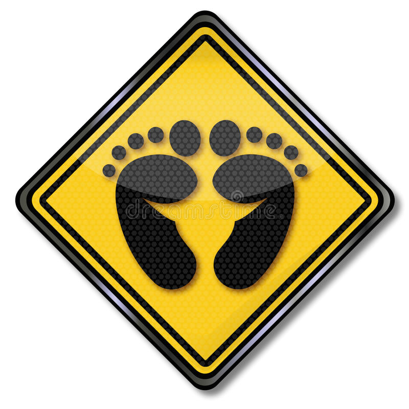 Symbol with footprint. And footprints royalty free illustration