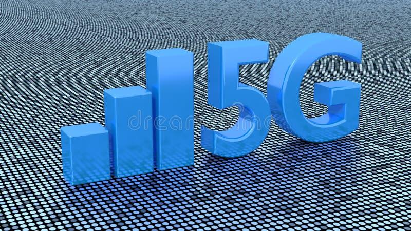 Symbol 5g auf punktierten Oberflächen- und Signalstangen lizenzfreie abbildung
