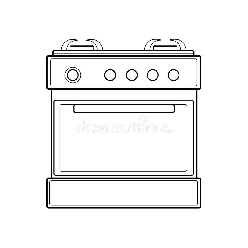 Symbol of gas stove. color line art. Vector illustration royalty free stock photos