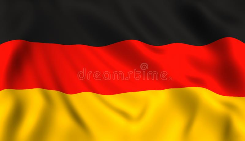 German Flag Waving In The Wind Stock Illustration Illustration Of