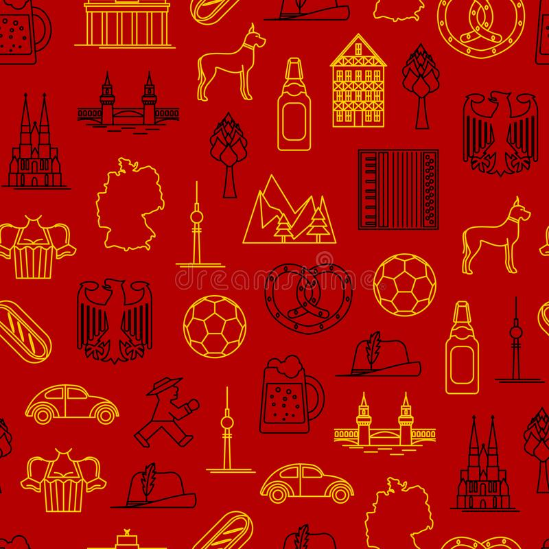 Symbol Of Germany Thin Line Seamless Pattern Background Vector