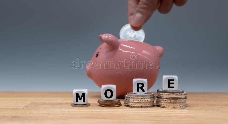 Symbol for getting more money. royalty free stock photography