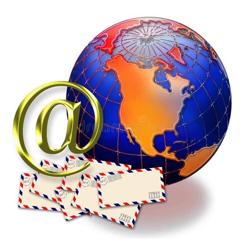At Symbol, Globe And Envelopes Royalty Free Stock Photos