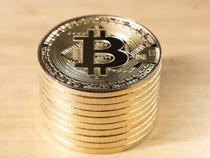 symbol golden Bitcoins stock image